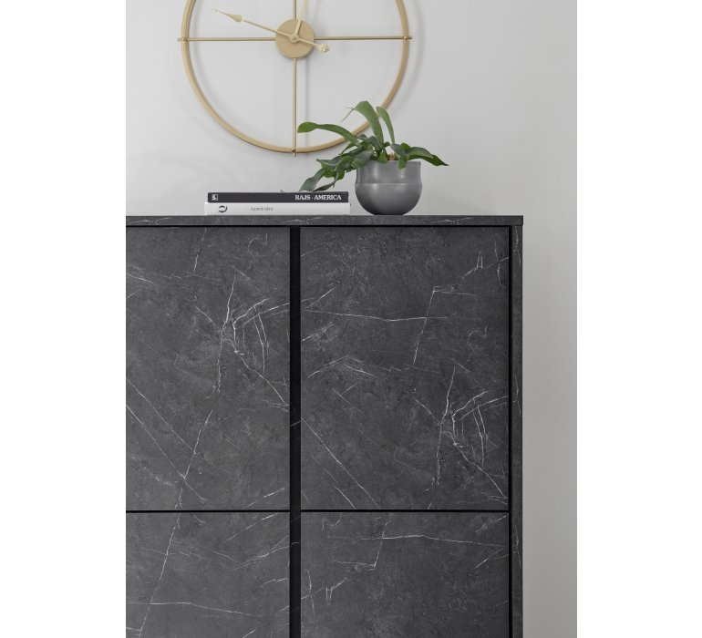 Buffet moderne gris 4 portes avec effet marbre OLYMPE
