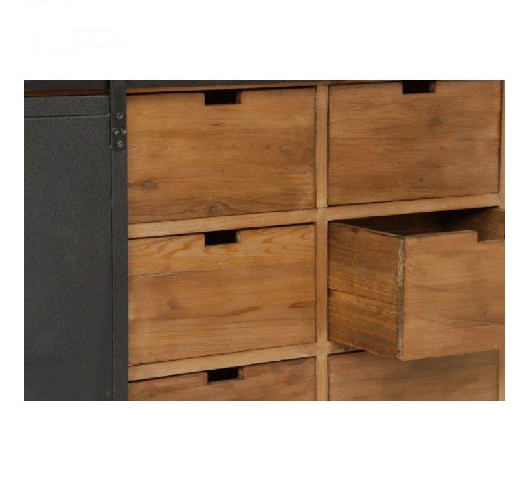 Buffet industriel porte coulissante bois massif et métal 180cm SANTY