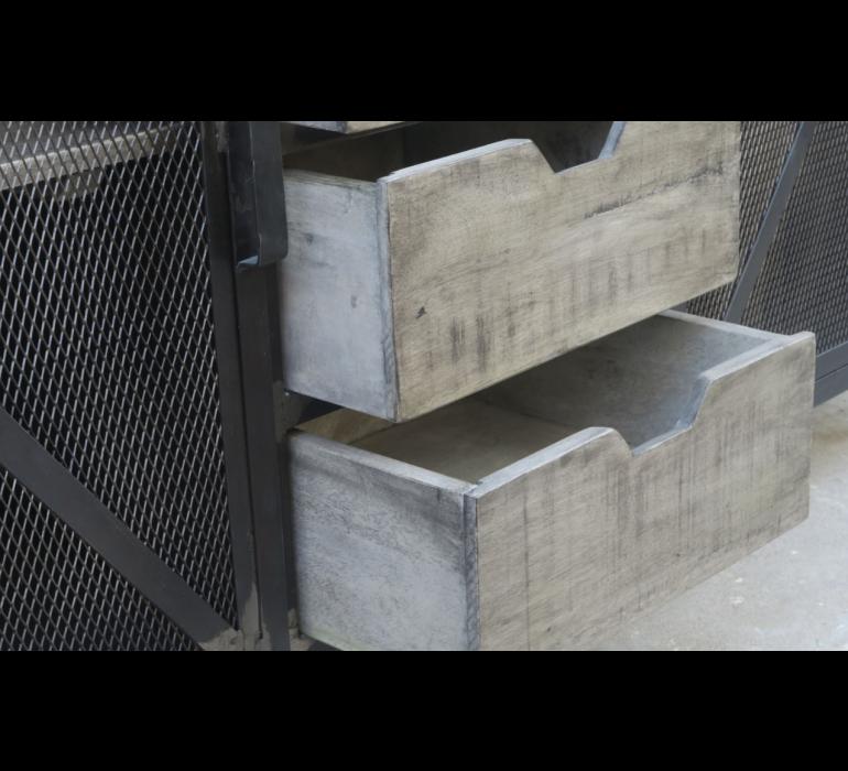 Buffet industriel porte grillagée métal et bois IRON