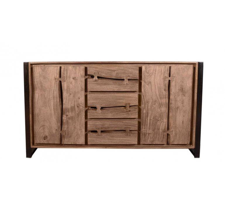 Buffet style industriel bois massif et métal MONTANA