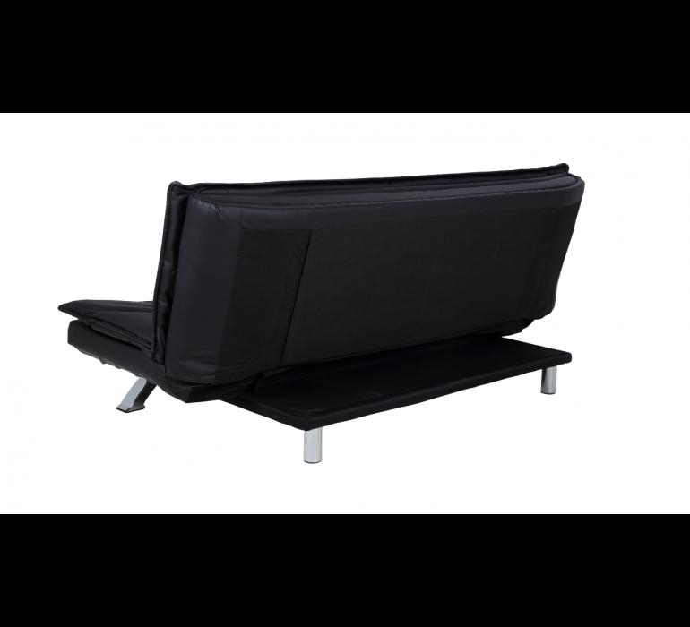 Canapé simili cuir noir convertible design SONARE