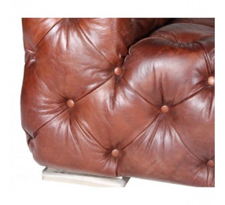 Canapé industriel cuir marron NEVADA