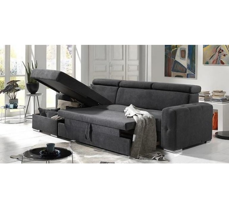 Canapé d'angle convertible tissu anthracite moderne LAGIO