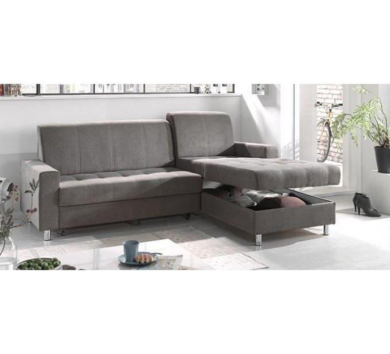 Canapé d'angle convertible tissu gris design APPIO