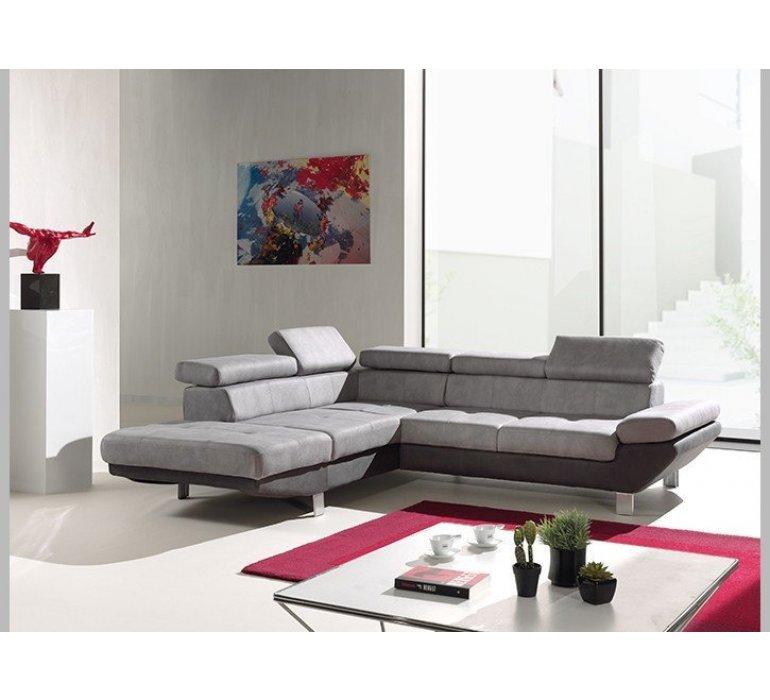 Canapé d'angle tissu gris ou marron design ATTILIO