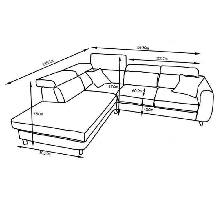 Canapé d'angle tissu anthracite scandinave BJÖRN