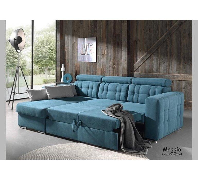 Canapé d'angle convertible tissu bleu cottage SAINT-MALO