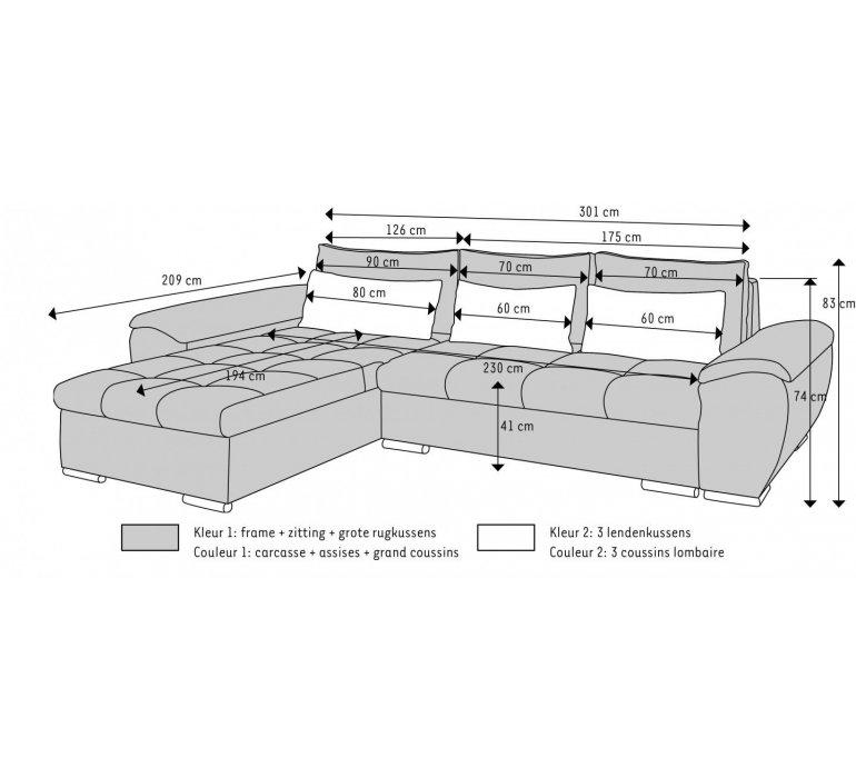 Canapé d'angle tissu gris chiné moderne SHAFT