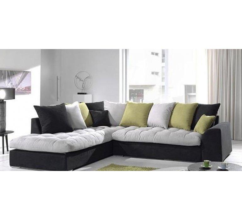 Canapé d'angle tissu tricolore PASSION