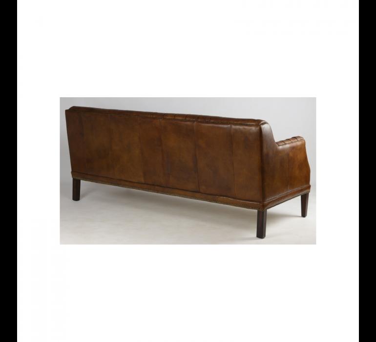 Canapé cuir marron capitonné industriel style vintage 3 places MIKE