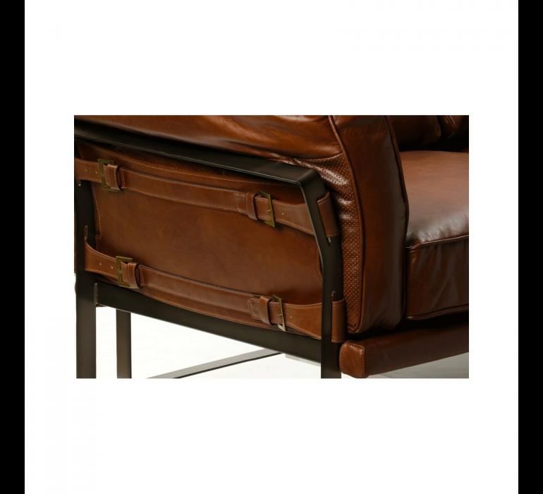 Canapé cuir marron avec sangle style industriel 3 places SIMON