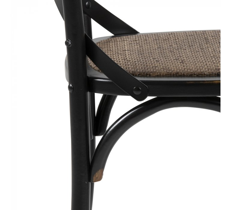 Chaise bistrot industrielle vintage bois noir PUB