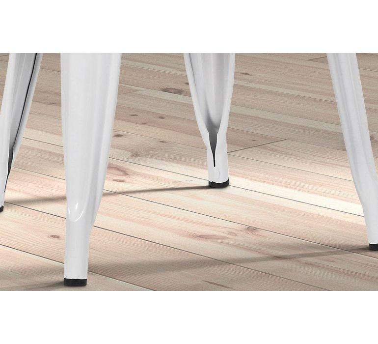 Chaise blanche en metal industrielle et assise en bois clair RETRO