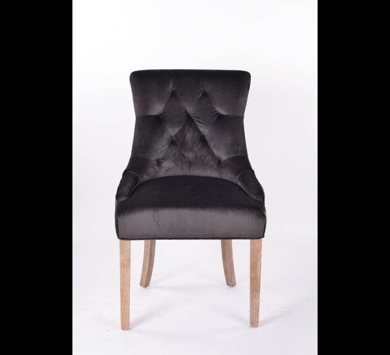 Chaise capitonnée grise velours ELISABETH