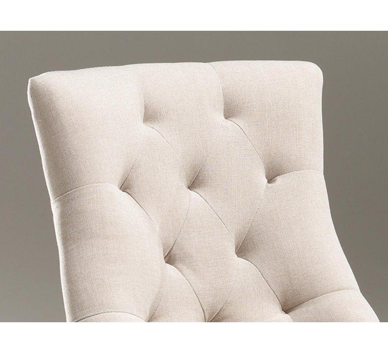 Chaise capitonnée tissu beige style charme CONSTANCE