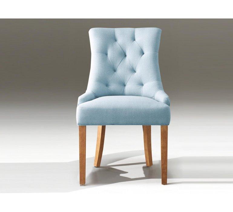 Chaise capitonnée tissu bleu style charme CONSTANCE