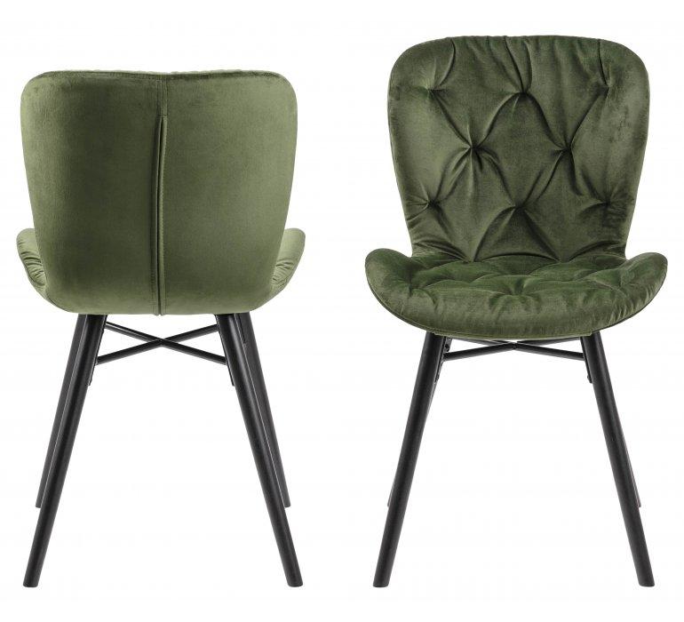 Chaise capitonnée velours vert (lot de 2) JADE