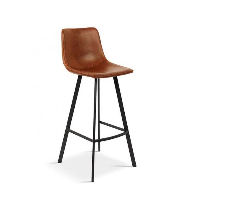 Chaise de bar 75 cm vintage marron en simili cuir ANGEL