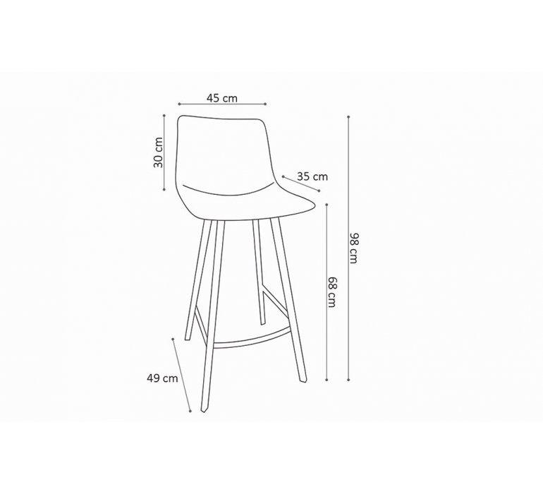 Chaise de bar noire assise 65 cm et piètement métal ANGEL