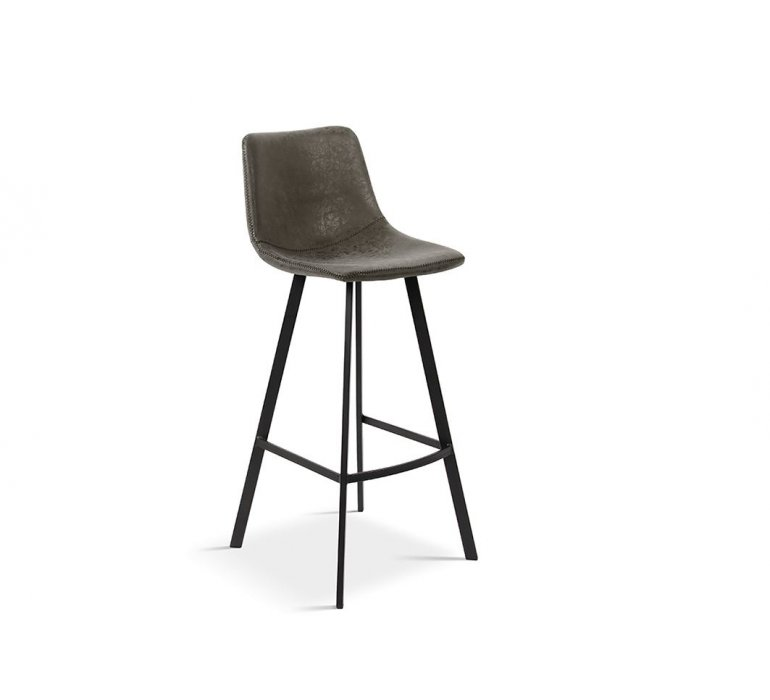 Chaise de bar 75 cm grise vintage avec piétement métal noir ANGEL