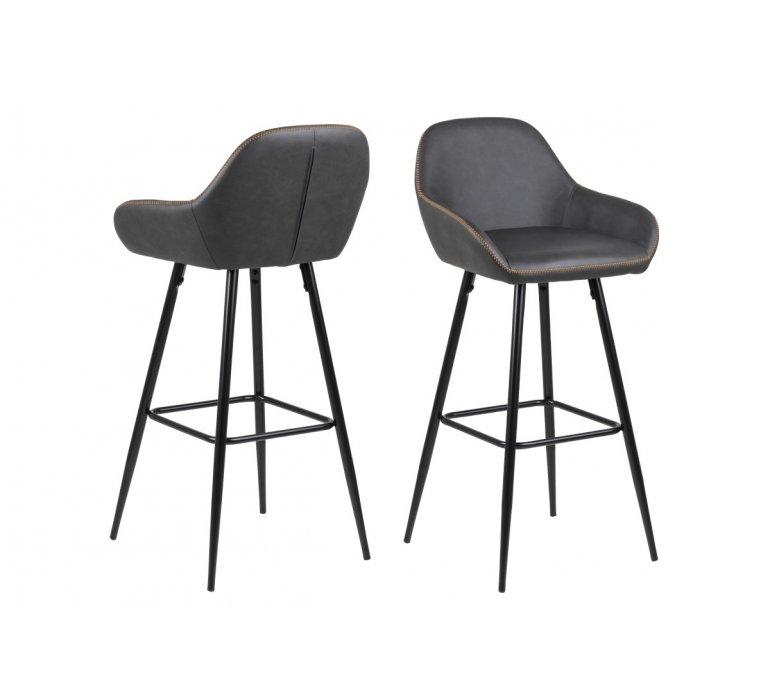 Chaise de bar grise moderne avec surpiqûres (lot de 2) ALTEO