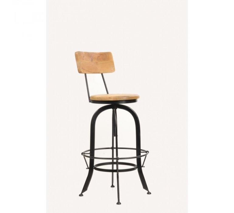 Chaise de bar industrielle bois et métal KURT
