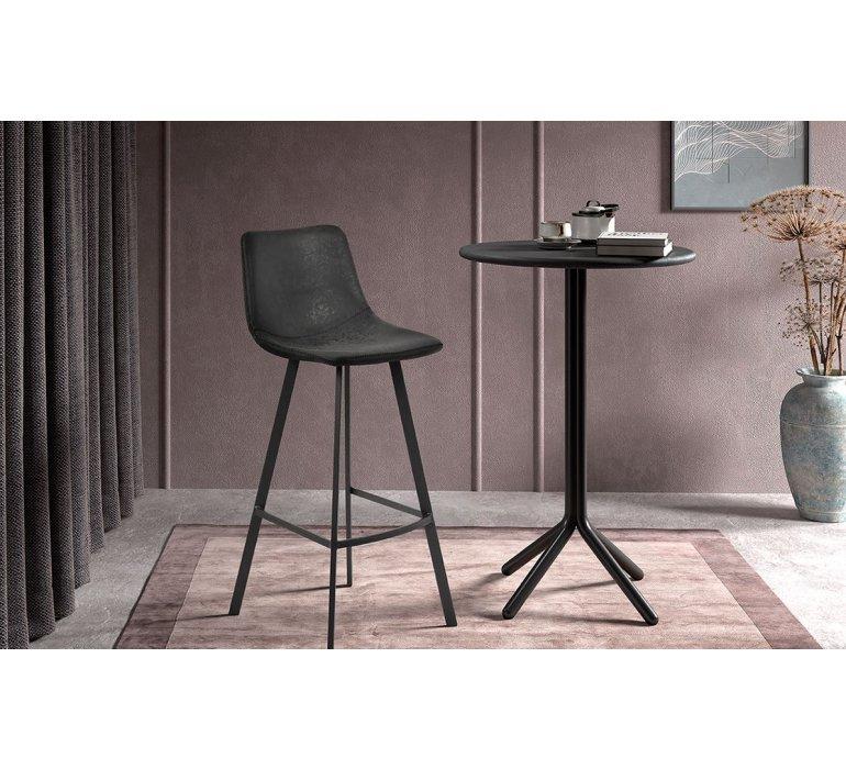 Chaise de bar vintage noire 75 cm en simili cuir et métal ANGEL