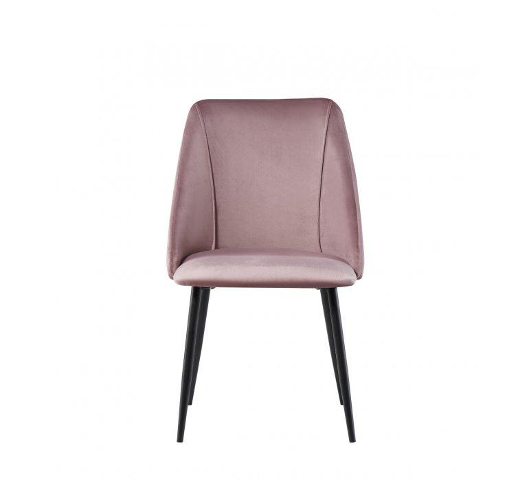 Chaise design en velours rose poudré QUARTZ