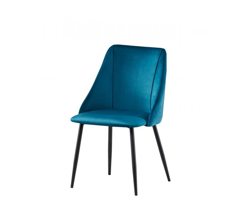 Chaise design velours bleu canard DUCK