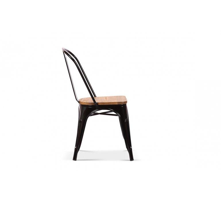 Chaise en métal noir industrielle et bois massif clair RETRO