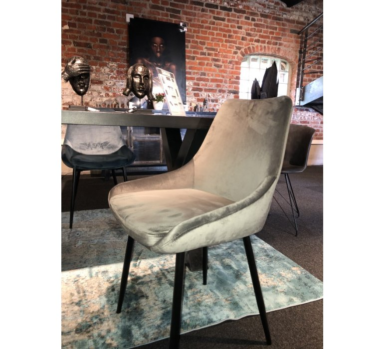 Chaise en velours gris moderne GREY