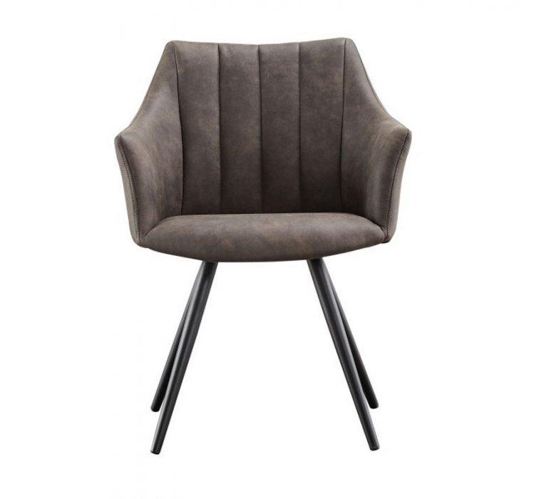Chaise fauteuil capitonnée moderne grise FLORA