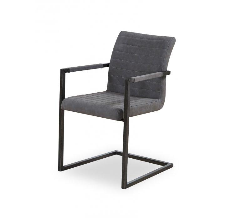 Chaise fauteuil industrielle grise RIVER