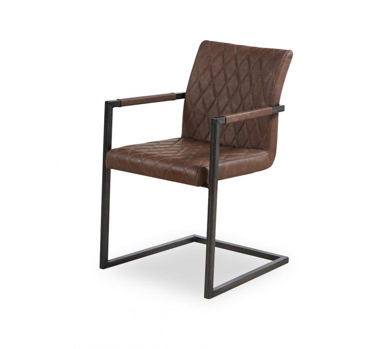 Chaise fauteuil industrielle marron WOOD