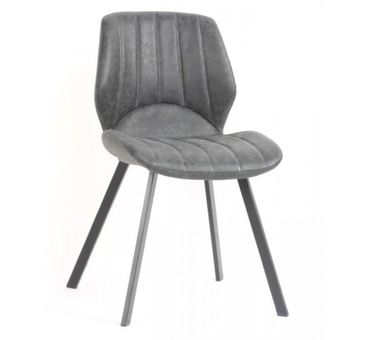 Chaise industrielle capitonnée grise MASSON