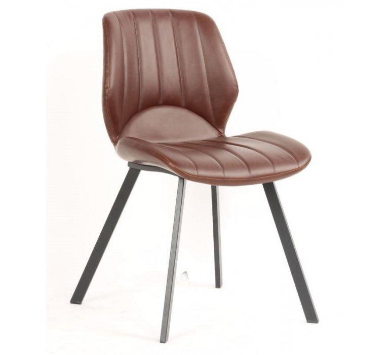 Chaise industrielle capitonnée marron PERRY