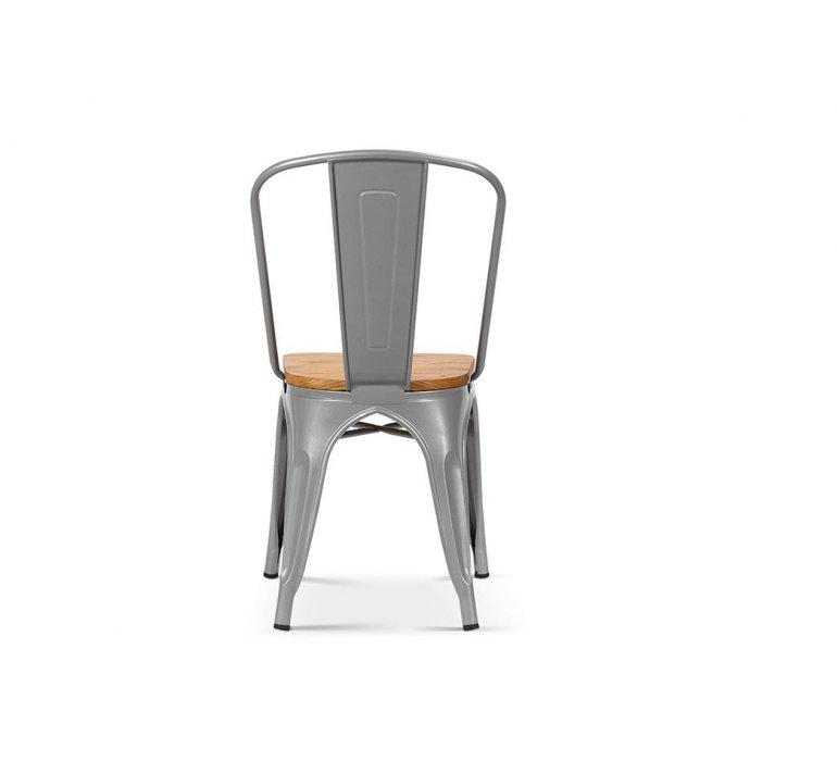 Chaise industrielle en acier gris clair et assise en bois clair RETRO