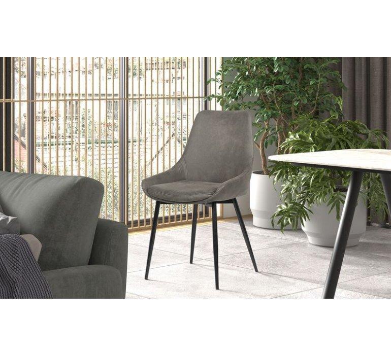 Chaise industrielle gris et métal noir SMITH
