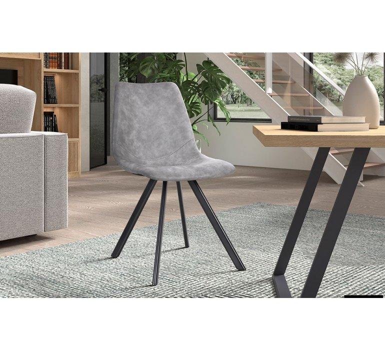 Chaise industrielle grise avec surpiqûres VINTAGE