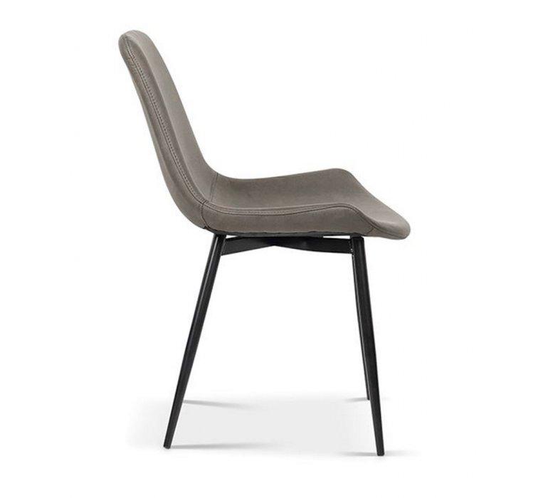 Chaise industrielle grise et métal noir MADISSON