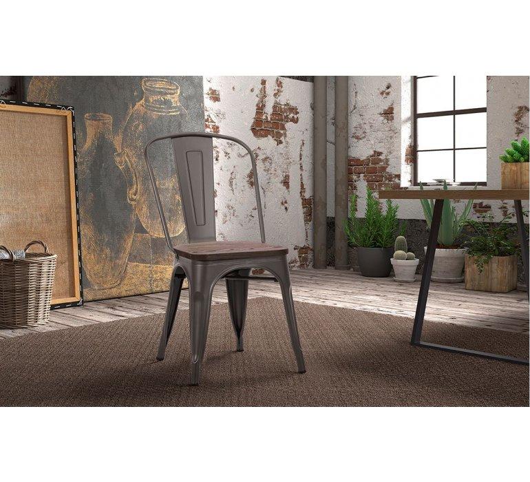 Chaise industrielle métal et bois HIPSTER
