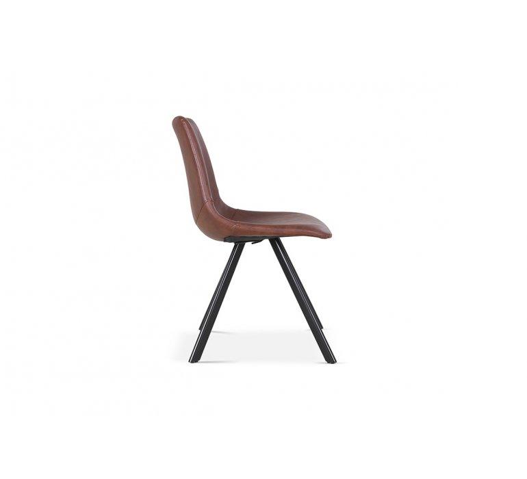Chaise industrielle marron avec surpiqûres VINTAGE