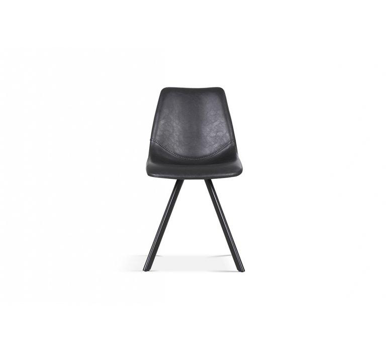 Chaise industrielle noire avec surpiqûres VINTAGE