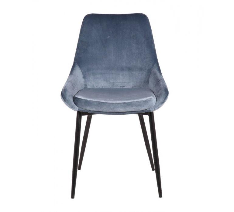 Chaise moderne bleue en velours OCEANE