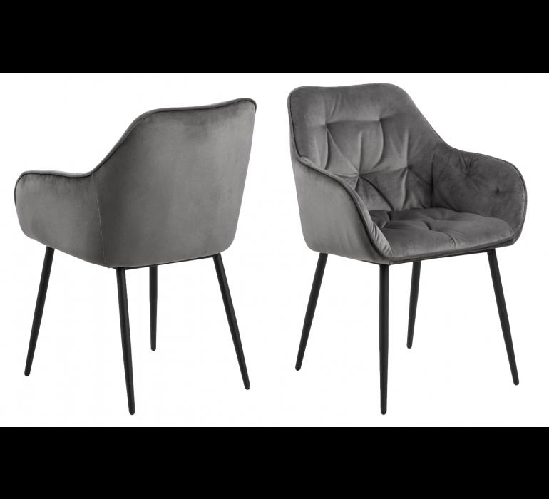 Chaise moderne capitonnée tissu gris ELSA