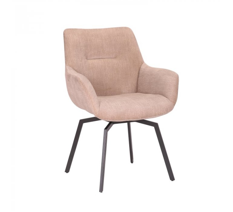 Chaise beige en velours côtelé moderne pivotante MELINE