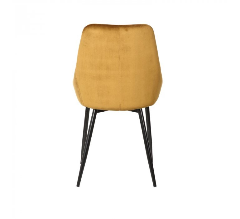 Chaise moderne en velours moutarde ELEGANCE