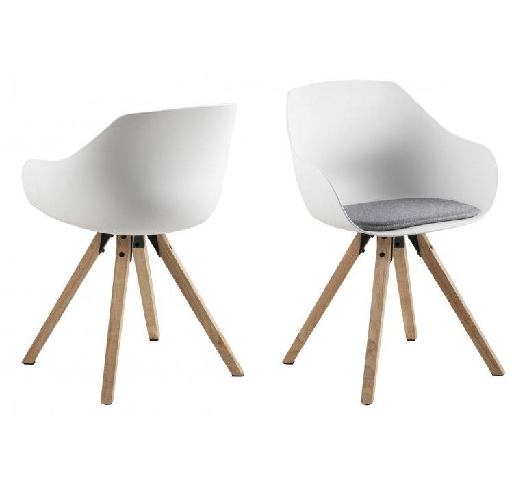 Chaise scandinave blanche avec piétement en bois HELEN