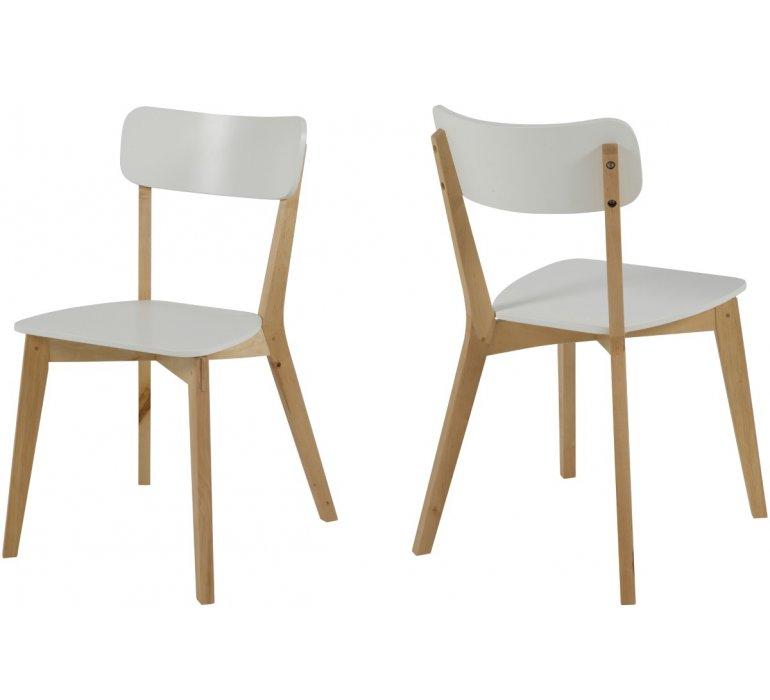 Chaise scandinave bois massif et blanc laqué (lot de 2) FINO