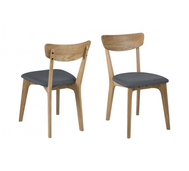 Chaise scandinave bois massif et tissu gris (lot de 2) TIMO